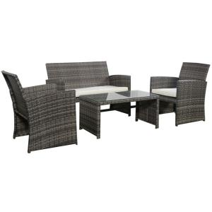 Mixed Grey 4 PC Rattan Patio Furniture Set