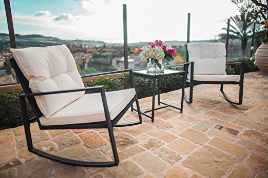 Outdoor 3-Piece Black Rocking Wicker Bistro Set