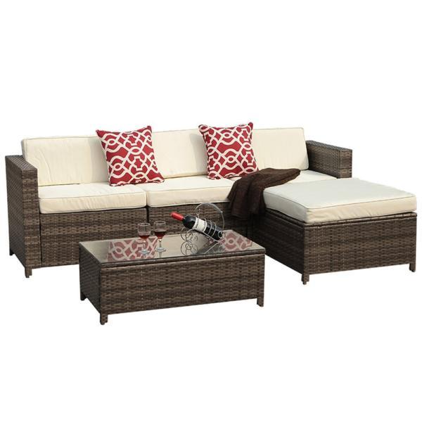 Patioroma 5 Piece Outdoor Wicker Rattan Patio Furniture