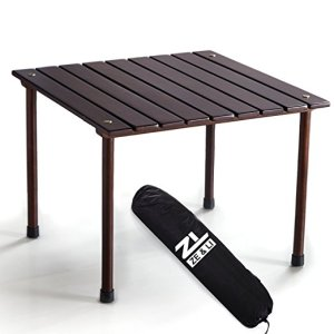Original Brown Low Wood Portable Table with Carrying Bag