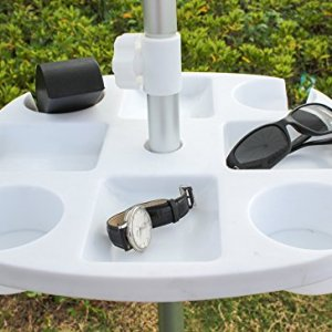 White 17 Inch Plastic Beach Umbrella Table with 4 Cup Holders