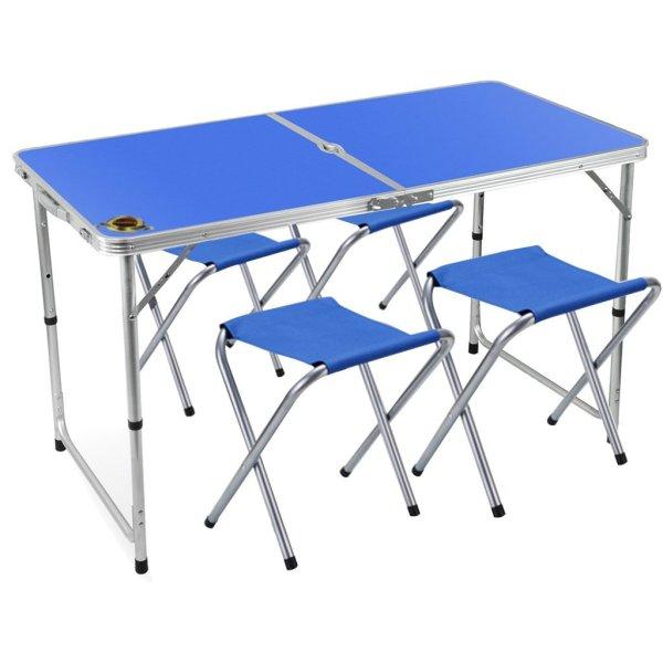 Edoking Height Adjustable Folding Table with 4 Folding Stools