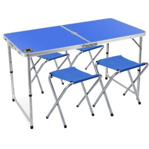Edoking Height Adjustable Folding Table with 4 Folding Stools