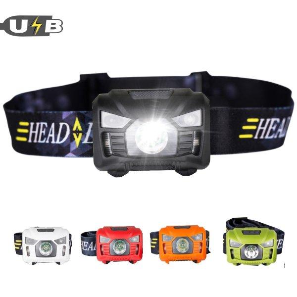 Three Trees Head Torchlight Sensor Rechargeable Outdoor Headlamp Flashlight
