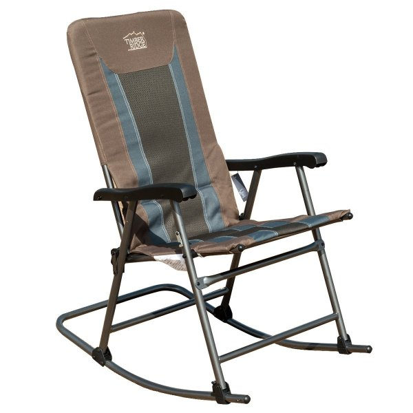 Timber Ridge 300 lb Capacity Smooth Glide Lightweight Padded Folding Rocking Chair