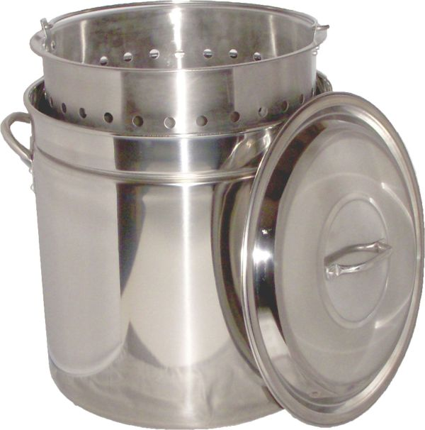 King Kooker 62 Quart Stainless Steel Camp Boiling Pot with Steam Rim