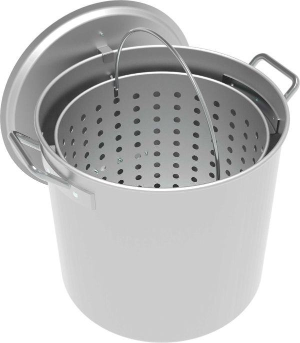 LoCo 42-Quart Aluminum Camping Pot with Strainer