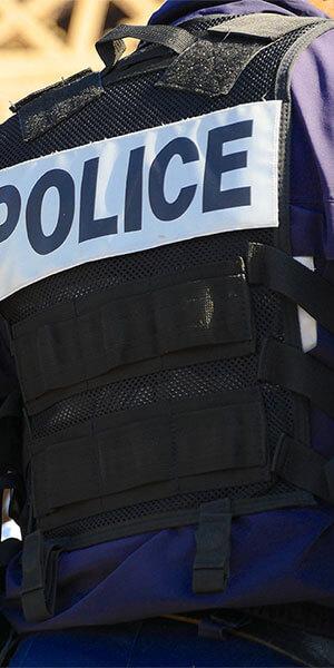 The back of a police vest
