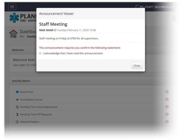 An announcement about a staff meeting in PlanIt Schedule.