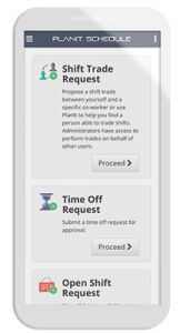 Shift trade, time off, and open shift request forms on a smartphone