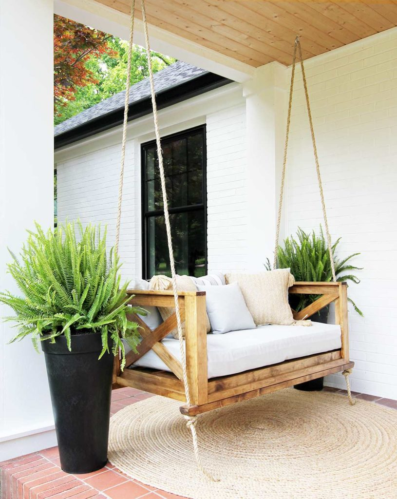 how to hang a porch swing plank and