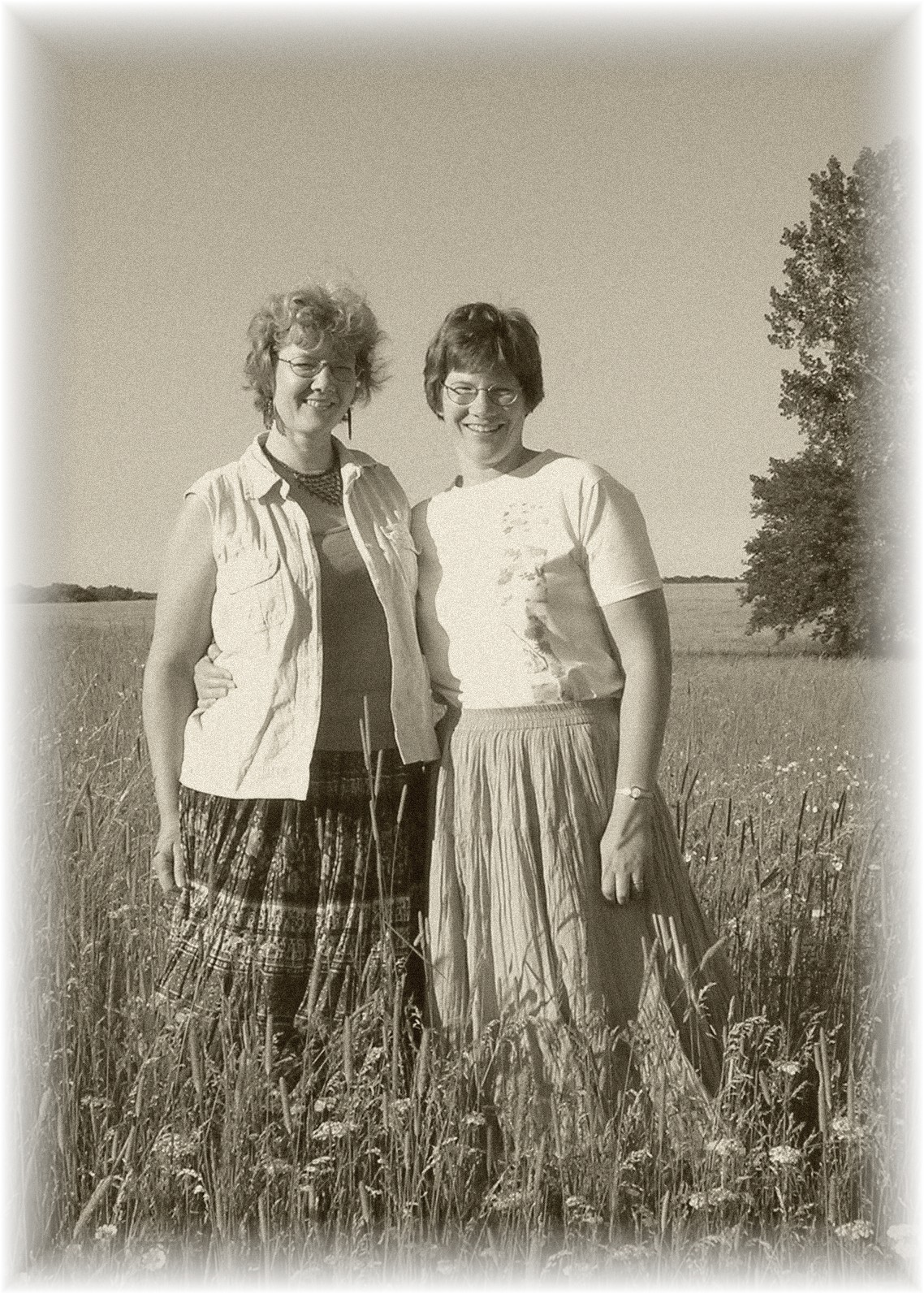 Hilda Demuth-Lutze and Emily Demuth Ishida standing in the pasture of the McEachron homestead.