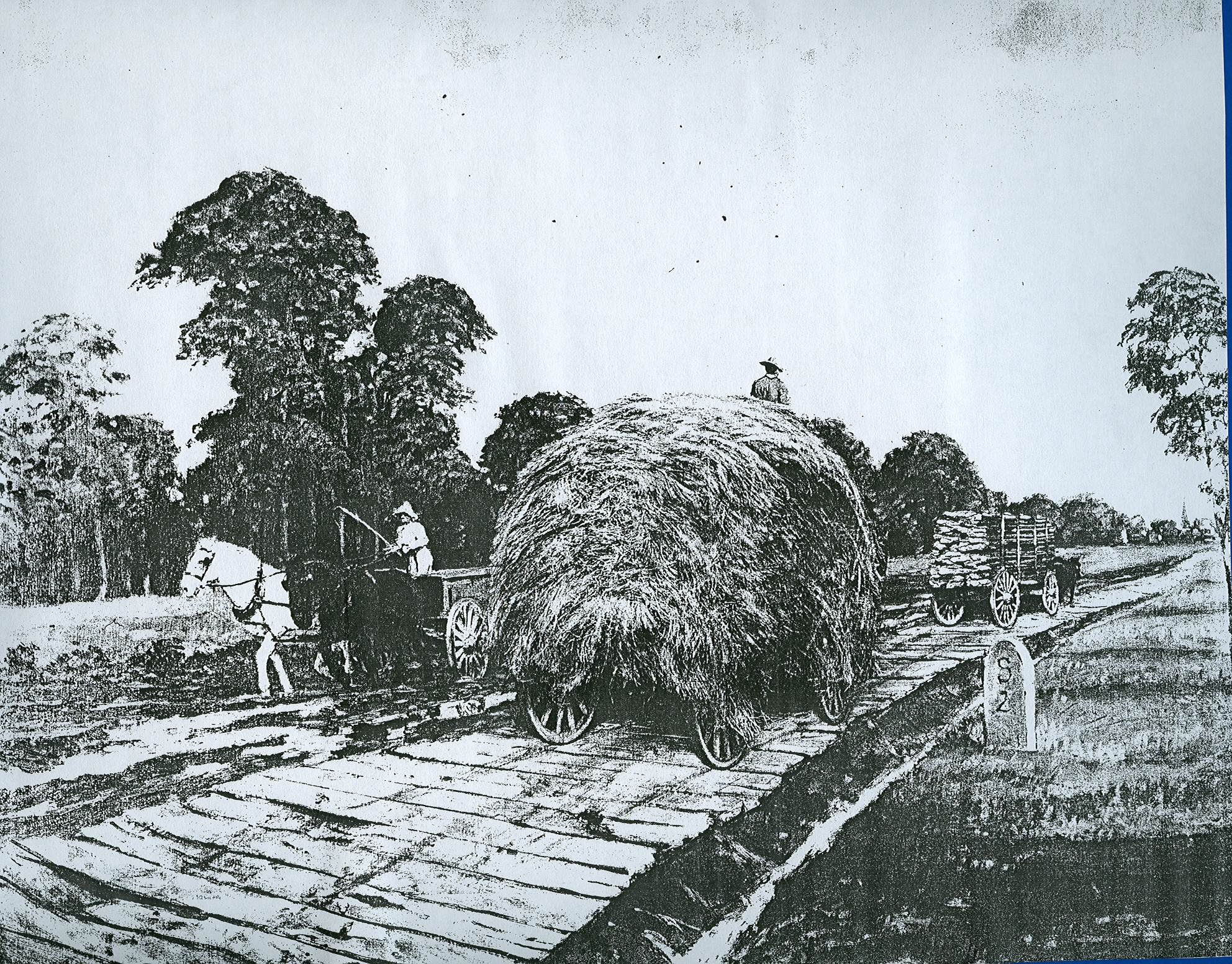 Wagons travel along a plank road