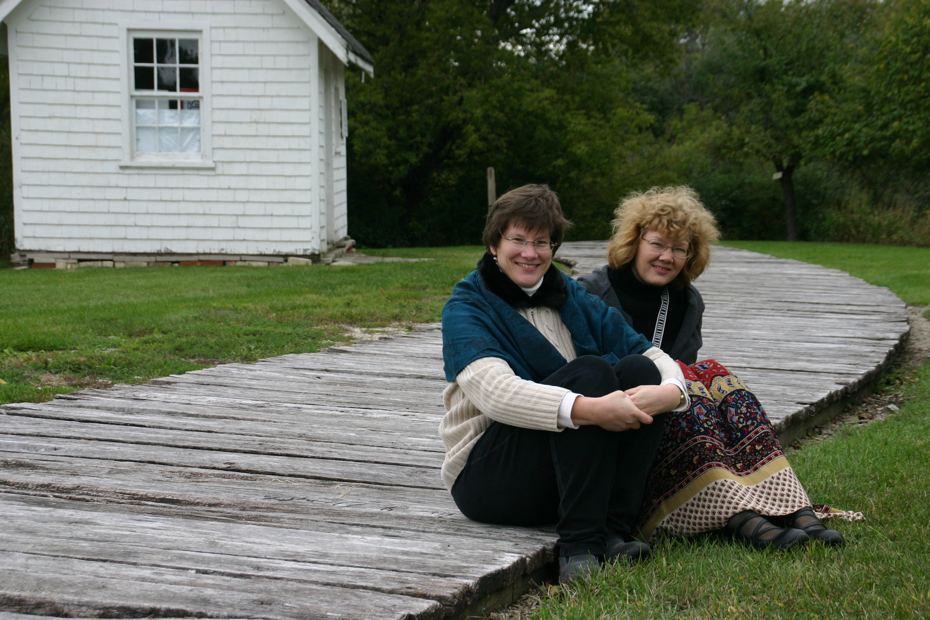 Authors Emily and Hilda Demuth on a plank road!