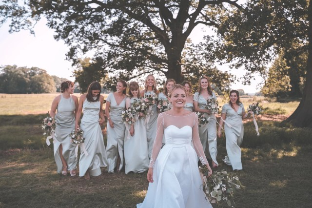 A Bride + Her Maids in 'Sewn Right' Dresses, for a Classic English Country Wedding – With Rick Astley Singing For The First Dance!