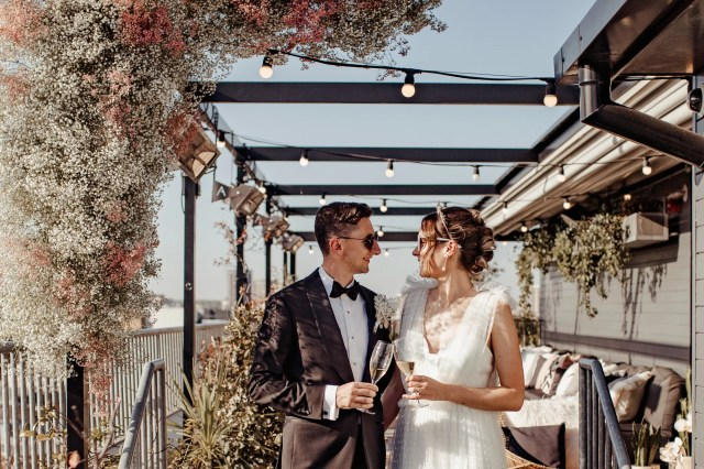 An Ace Hotel Modern City Wedding with Flower Clouds, LA, Cali and Pastel Pink Palm Springs Vibes
