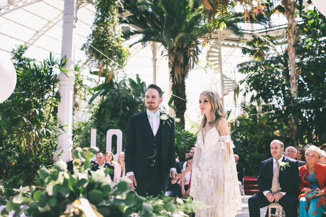 A Gold Print Rue de Seine Dress for a Bohemian Bride & Her Palm Filled and Botanical Glasshouse Wedding in Liverpool
