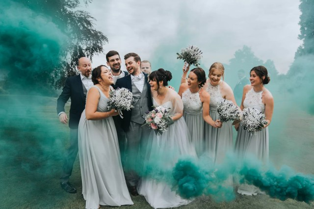 A Grey Tulle Suzanne Neville Dress & Smoke Bombs for a Summer Meadow Inspired Barn Wedding