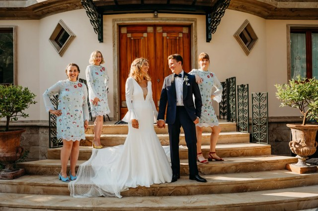 A Polka Dot Veil for a Sun-Drenched Wedding on Italy's Amalfi Coast, With 1960's and 1970's References
