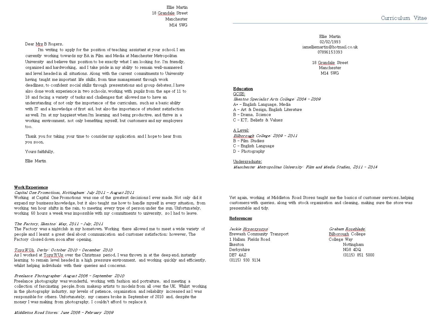 Cover Letter For Professor Assistant
