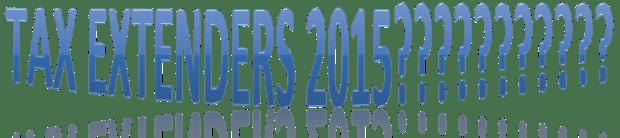Tax extenders 2015