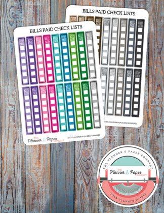 Bills Paid Checklist Planner Stickers – Bright or Neutral