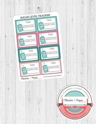 Blood Sugar Level Tracking Planner Stickers