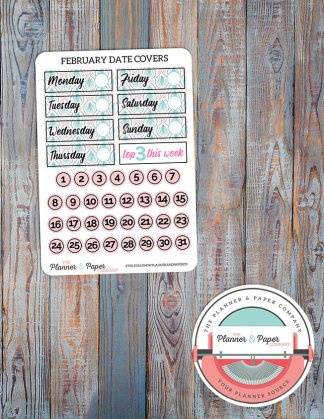 February Date Covers Planner Stickers