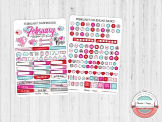 February Monthly Calendar Basics & Dashboard Planner Stickers