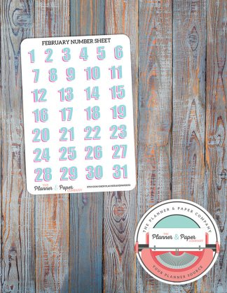 February Number Sheet – Date Cover or Monthly Spread – Planner Stickers