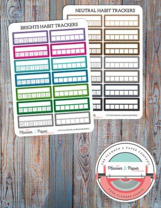 Habit Tracker Planner Stickers – Bright or Neutral