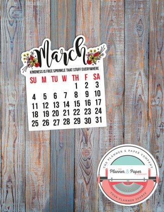March Calendar Die Cut