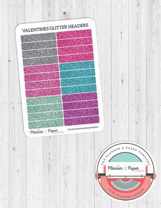 Valentine's Glitter Header Planner Stickers