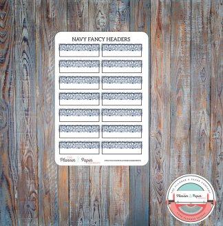Navy Fancy Header Planner Stickers