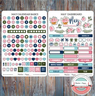 May  Monthly Calendar Basics & Dashboard Planner Stickers