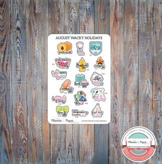 August Wacky Holiday Planner Stickers