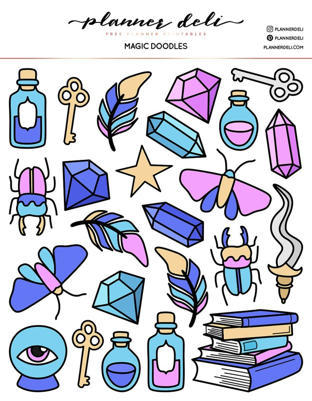Free Magic Doodles Printable Stickers