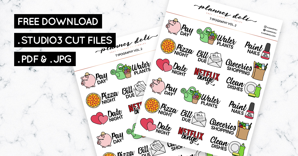 photograph about Free Printable Functional Planner Stickers referred to as Absolutely free Realistic Typography Printable Stickers (vol 2