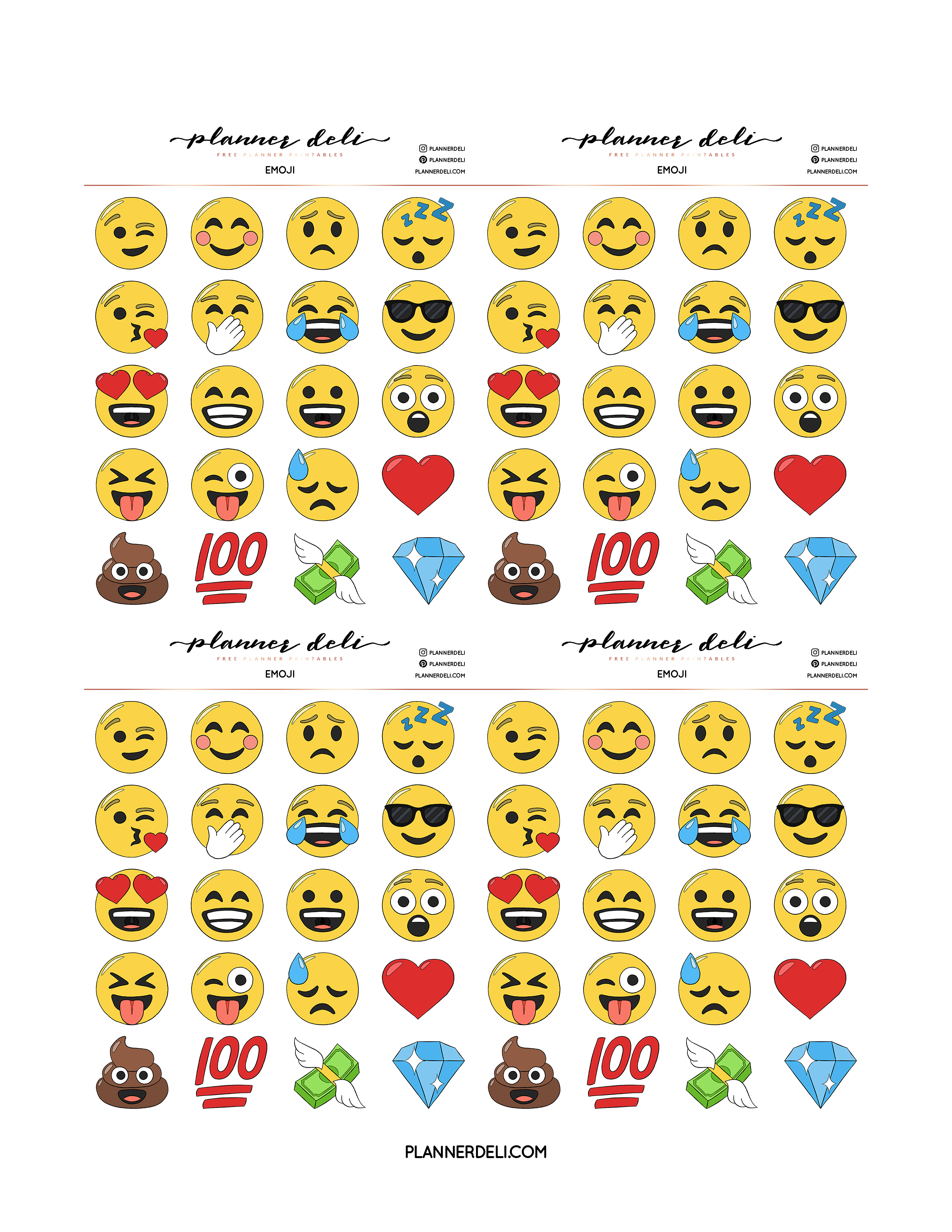 photograph about Emoji Printable Sheets titled Free of charge Emoji Printable Stickers - Planner Deli