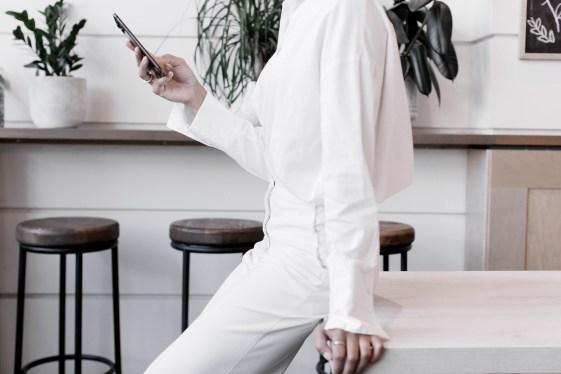 wedding planner looking at phone