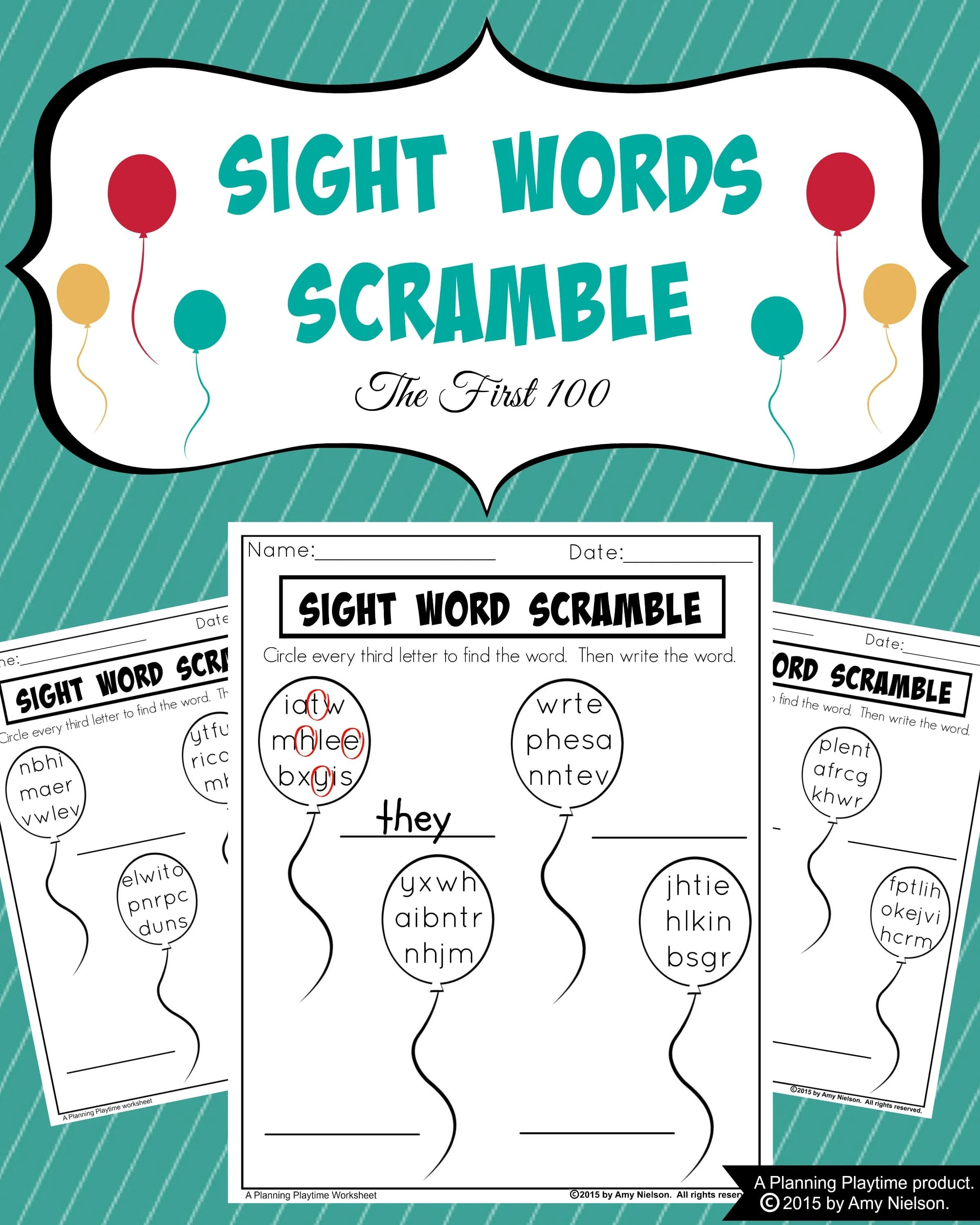 Sight Words Scramble Worksheets