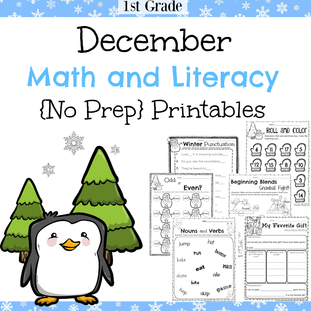 1st Grade December Math And Literacy Worksheets
