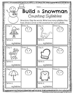 Kindergarten Syllables Worksheet - Clap the word, write how many syllables, and draw a circle on the snowman for each one. #kindergarten #worksheets #printables