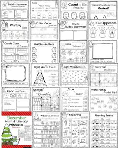 Kindergarten Math and Literacy printables for December. Reading comprehension, counting, addition, subtraction, sentence writing, syllables and more.