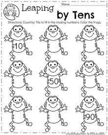 Spring Kindergarten Math Worksheets for April - Count by 10s