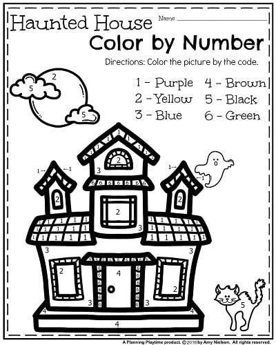 free october kindergarten worksheet haunted house