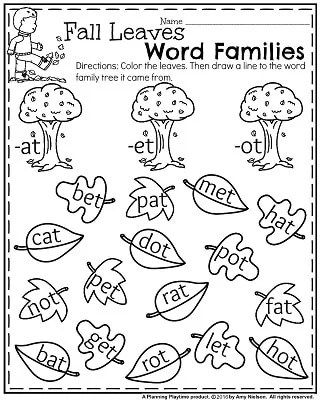 Fall Kindergarten Worksheets for November - Fall leaves Word Families.