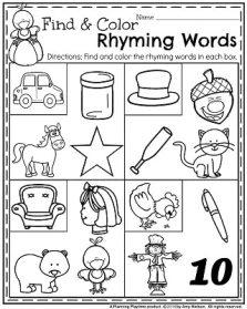 November Preschool Worksheets - Find and Color Rhyming Words.