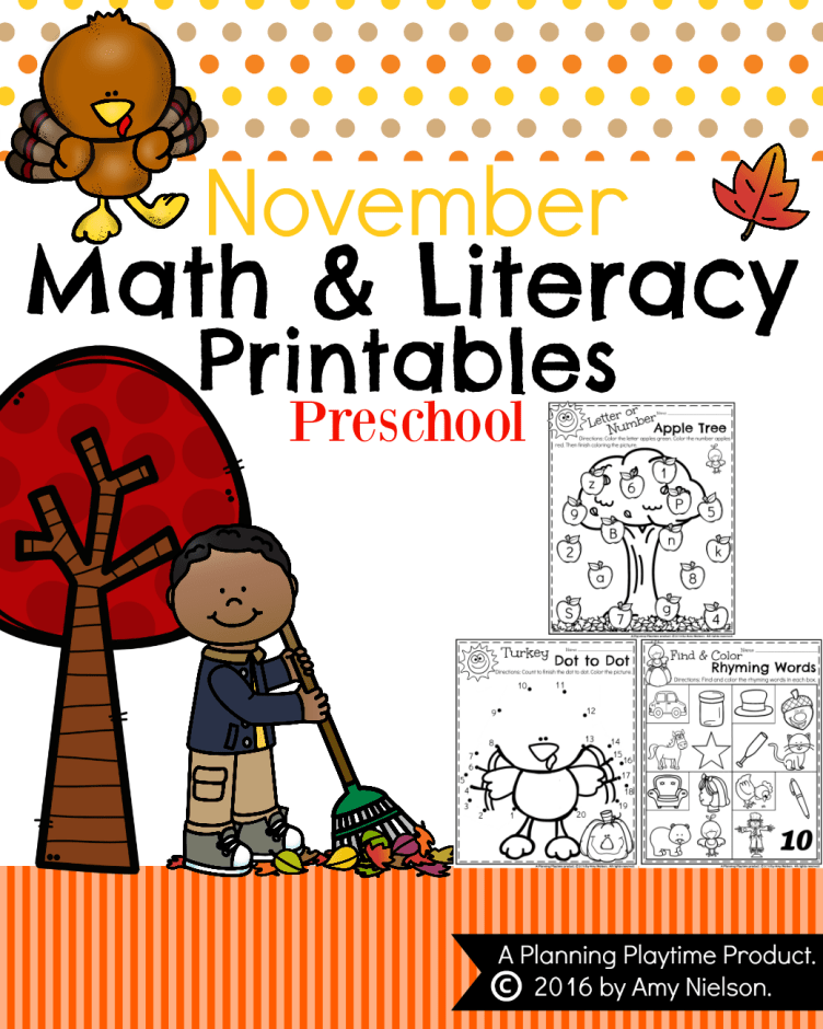 November Preschool Worksheets with a FREE Printable.