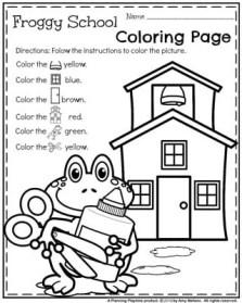 Preschool Worksheets - Froggy School Coloring Page.